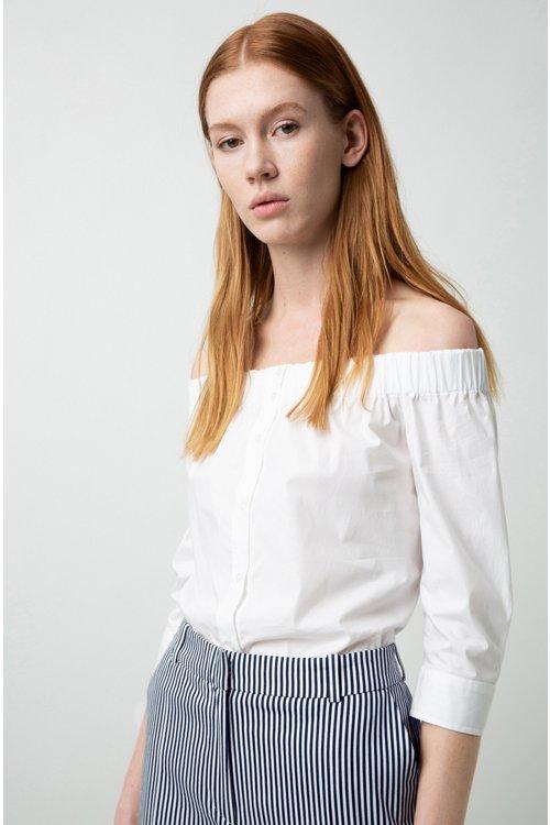 Hugo Boss - Bluse aus Stretch-Baumwolle mit Bardot-Ausschnitt und verkürzten Ärmeln - 3