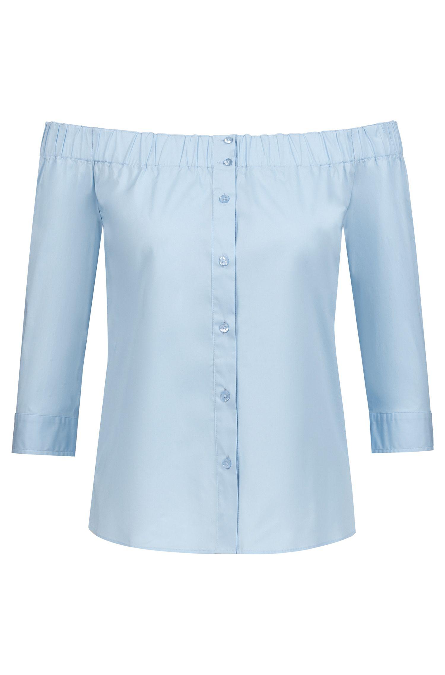 Blouse van stretchkatoen met iets kortere mouwen en een Bardot-halslijn, Blauw