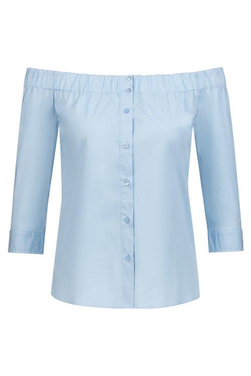 Hugo Boss - Bluse aus Stretch-Baumwolle mit Bardot-Ausschnitt und verkürzten Ärmeln - 1