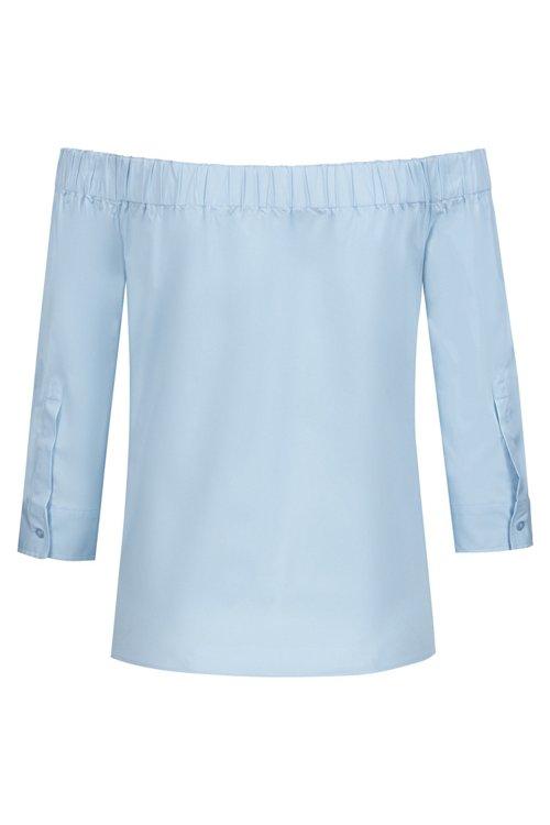 Hugo Boss - Bluse aus Stretch-Baumwolle mit Bardot-Ausschnitt und verkürzten Ärmeln - 4