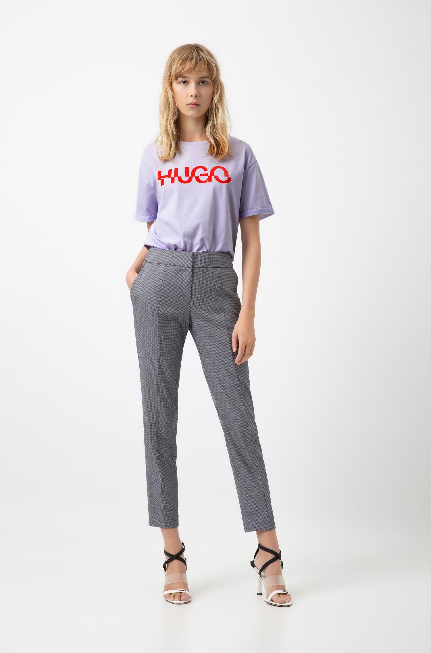 Camiseta relaxed fit en algodón con estampado de logo cortado, Lila