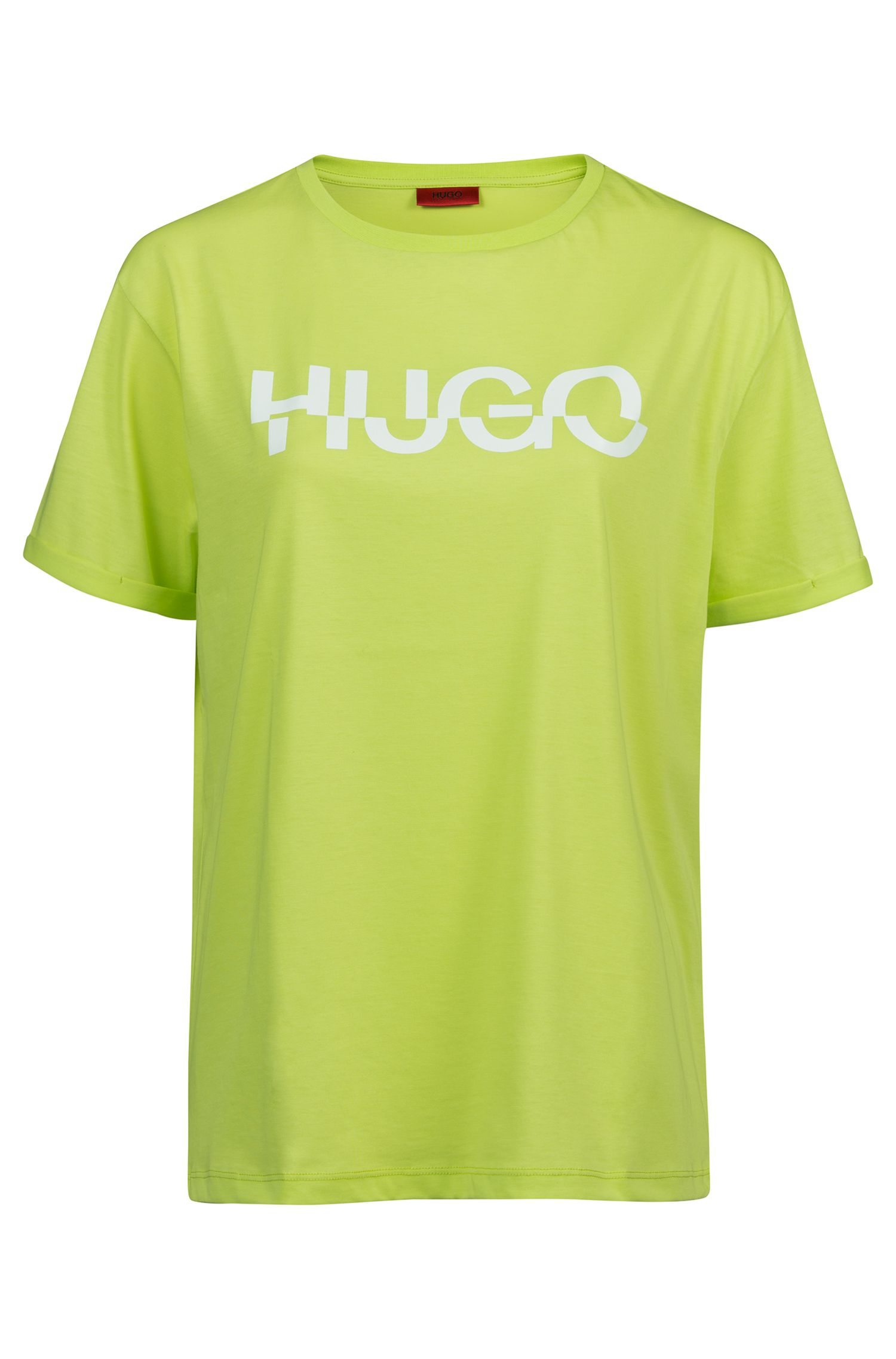 Relaxed fit T-shirt in cotton with cut-logo print, Green