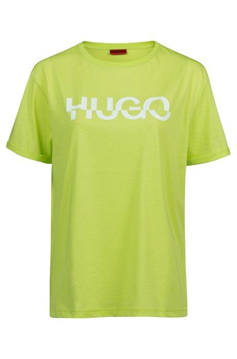 Relaxed-fit T-shirt van katoen met afgesneden logoprint, Groen