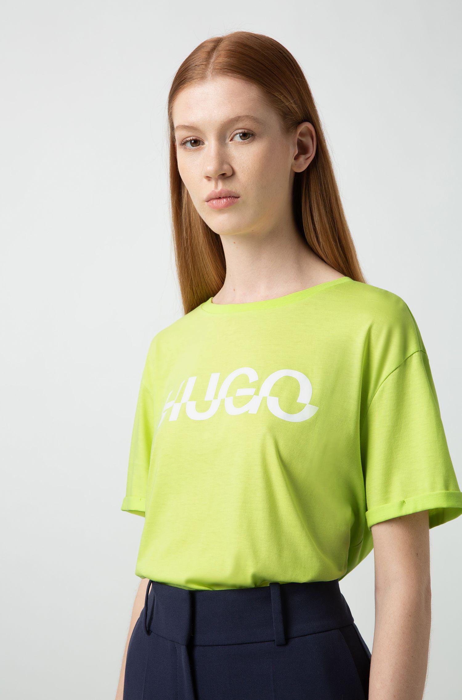 T-shirt relaxed fit in cotone con stampa del logo spezzato, Verde