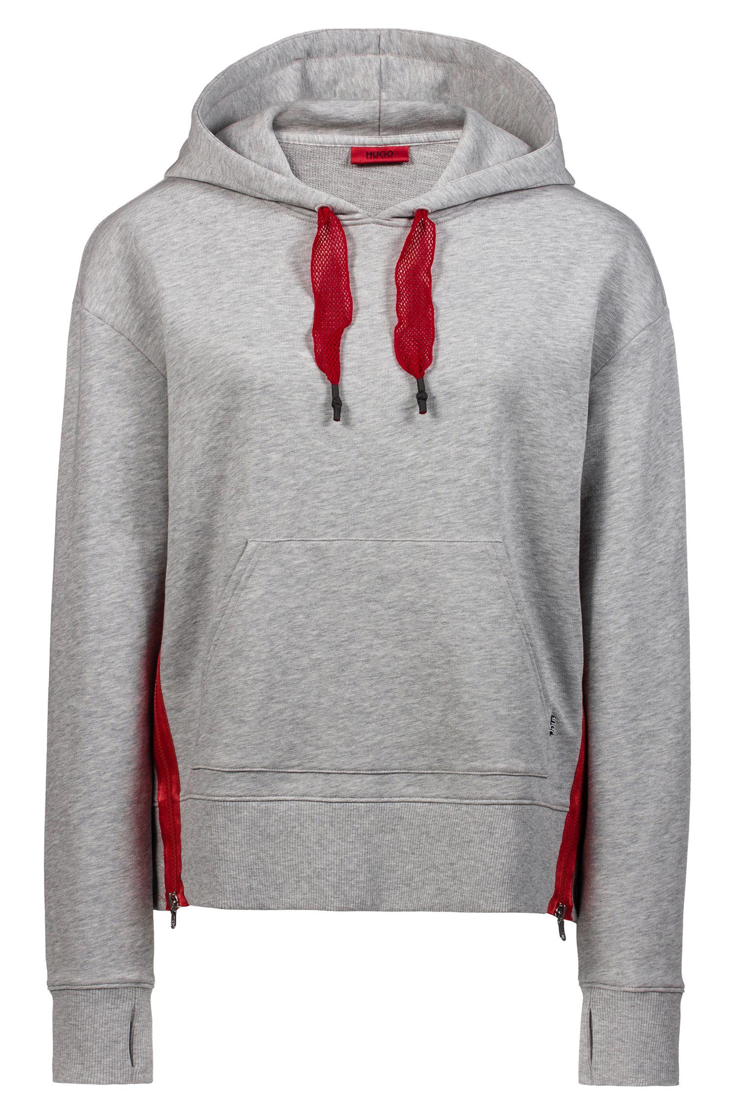 Kapuzen-Sweatshirt aus Baumwolle mit kontrastfarbenen Mesh-Kordeln, Grau