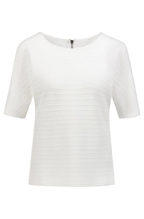 Relaxed-fit top in structured jersey, Natural