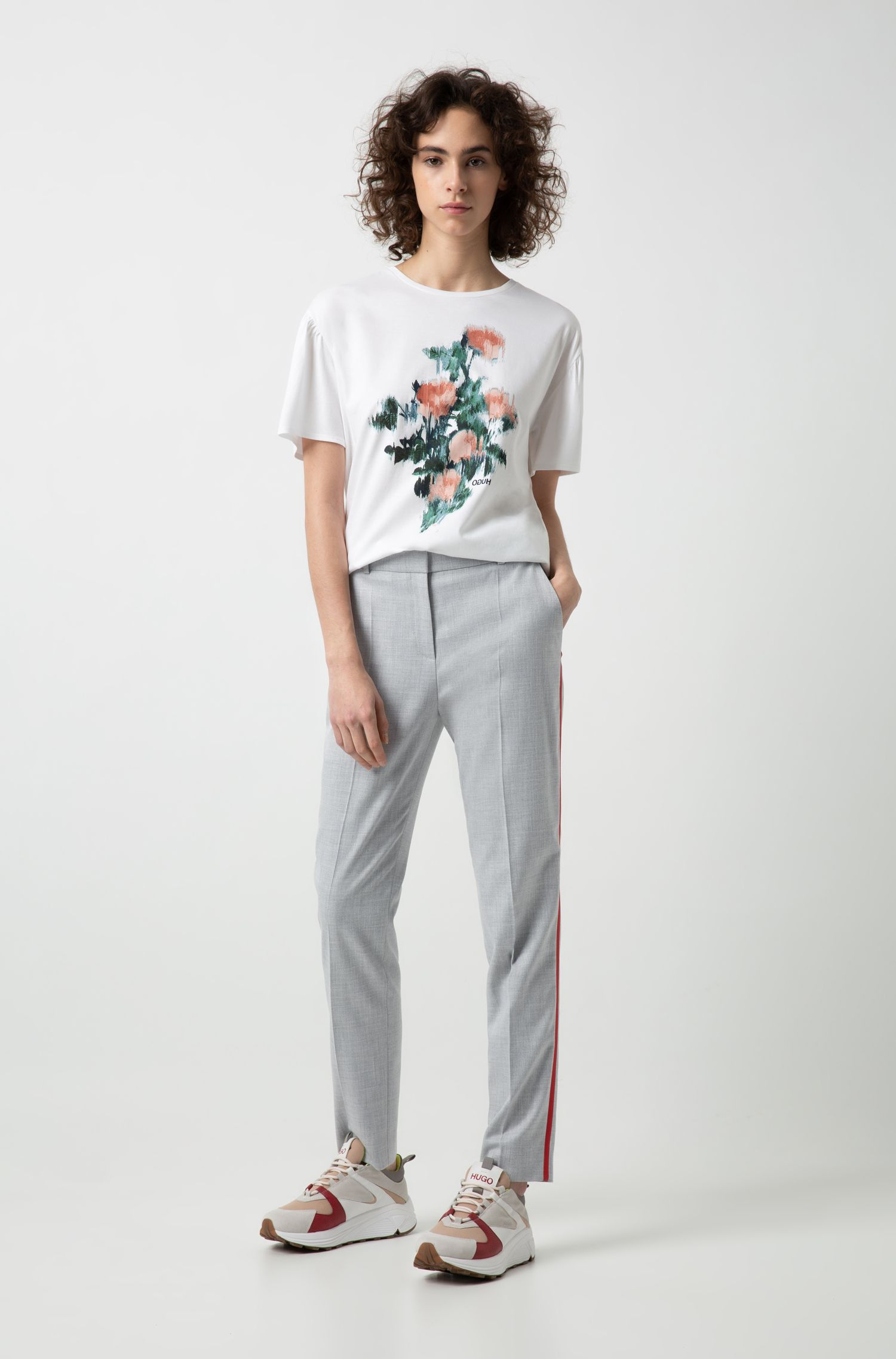 Relaxed-fit T-shirt in Pima cotton with floral print, White