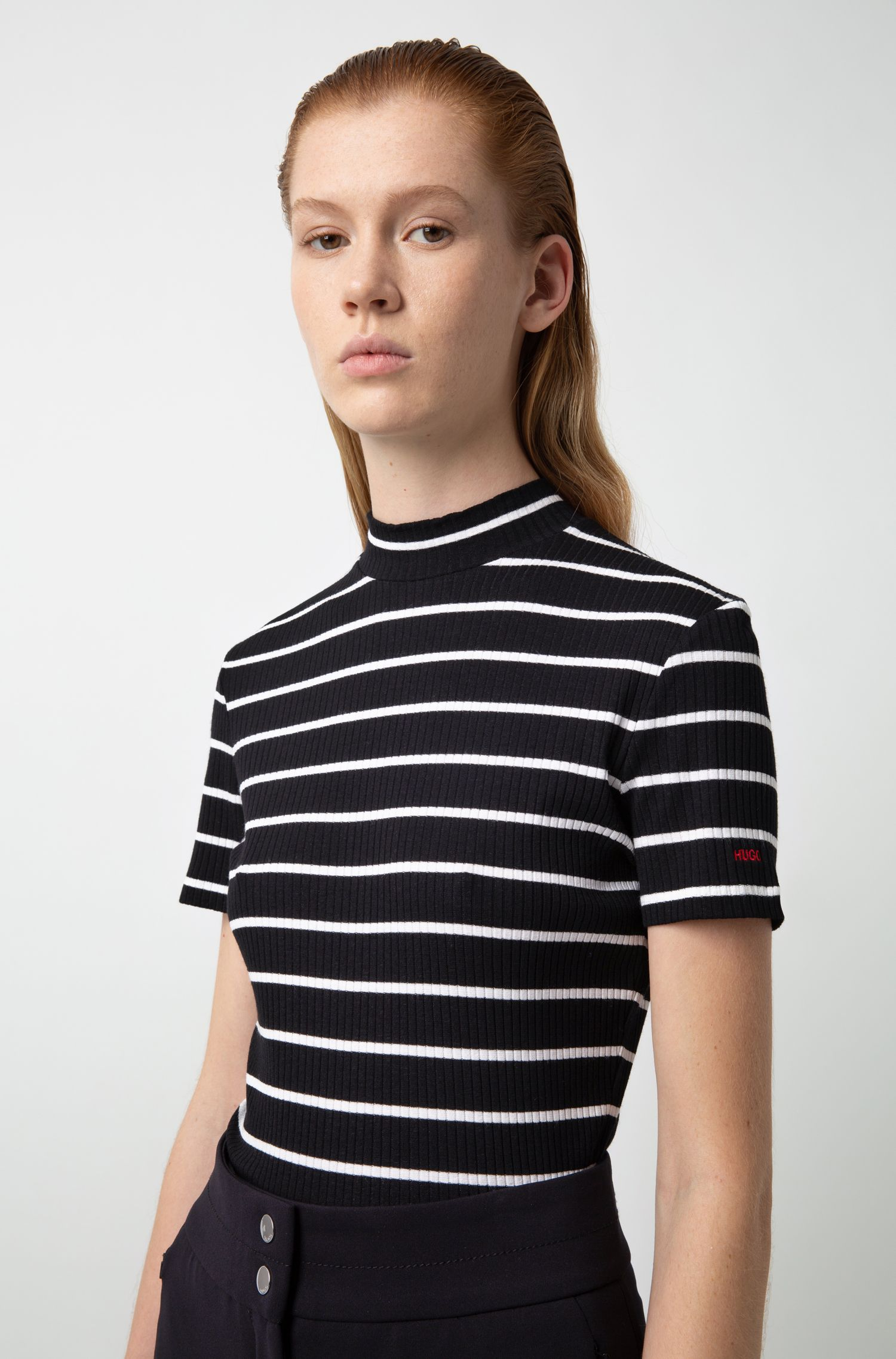 Slim-fit T-shirt in striped jersey with mock neck, Patterned
