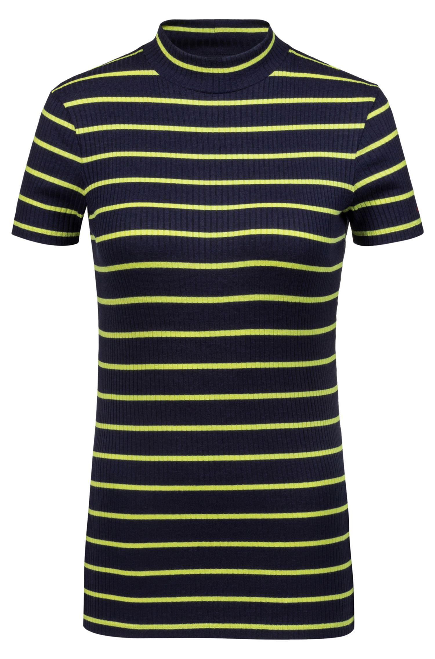 Slim-fit T-shirt van gestreepte jersey met lage col, Bedrukt