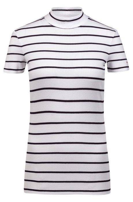 T-shirt Slim Fit en jersey à rayures, à col cheminée, Fantaisie