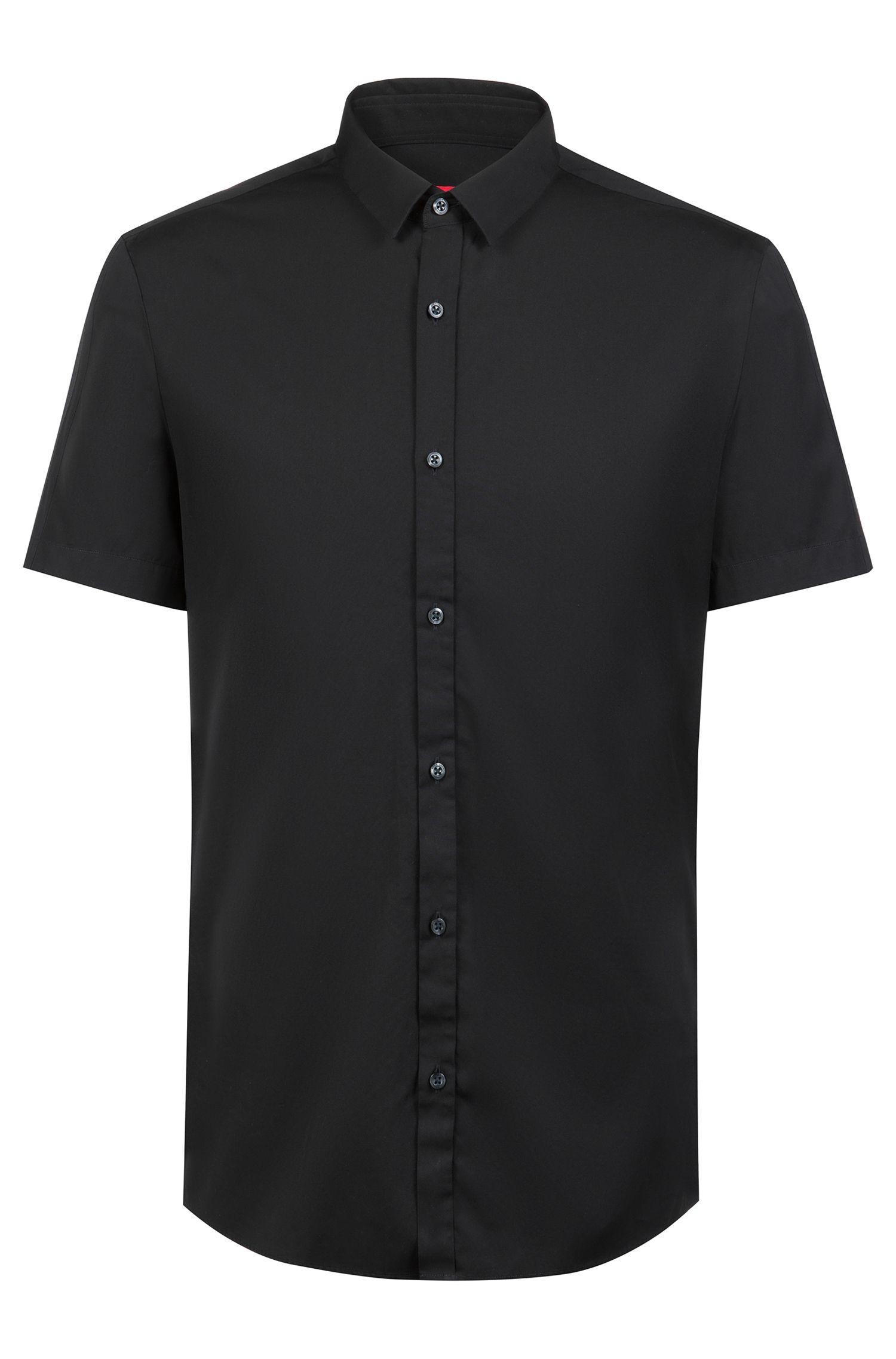 Camisa extra slim fit en popelín de algodón con detalles en las mangas, Negro