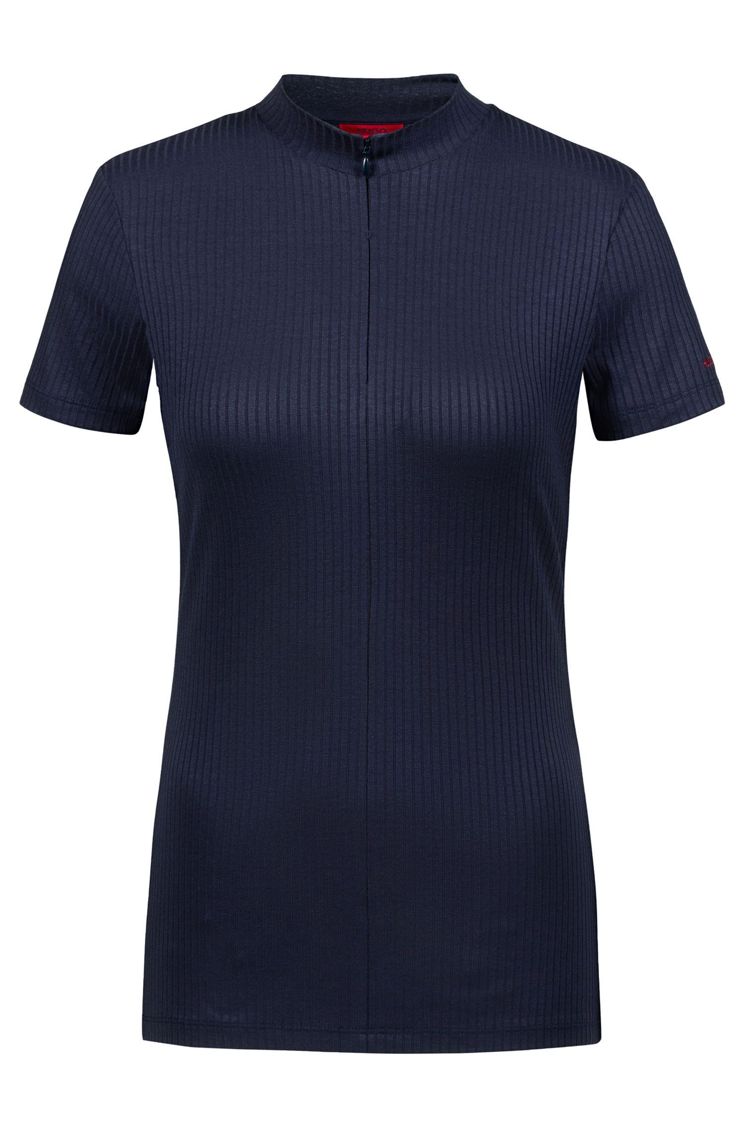 T-Shirt aus geripptem Jersey mit Troyerkragen, Dunkelblau