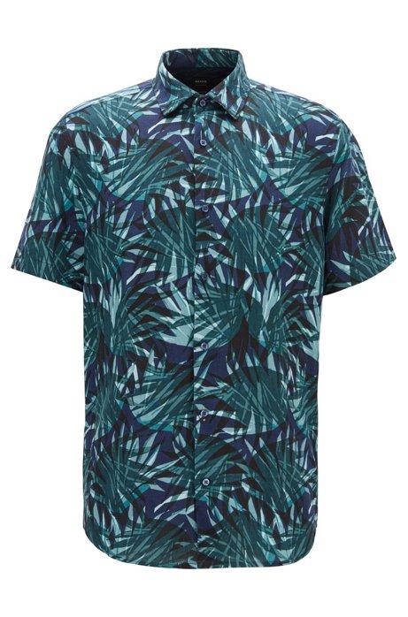 Regular-fit overhemd in een linnenmix met tuinprint, Groen