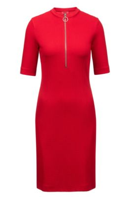 Mit Aus Ausschnitt Jersey Stretch Am Kleid Reißverschluss Strukturiertem Qtrsdh