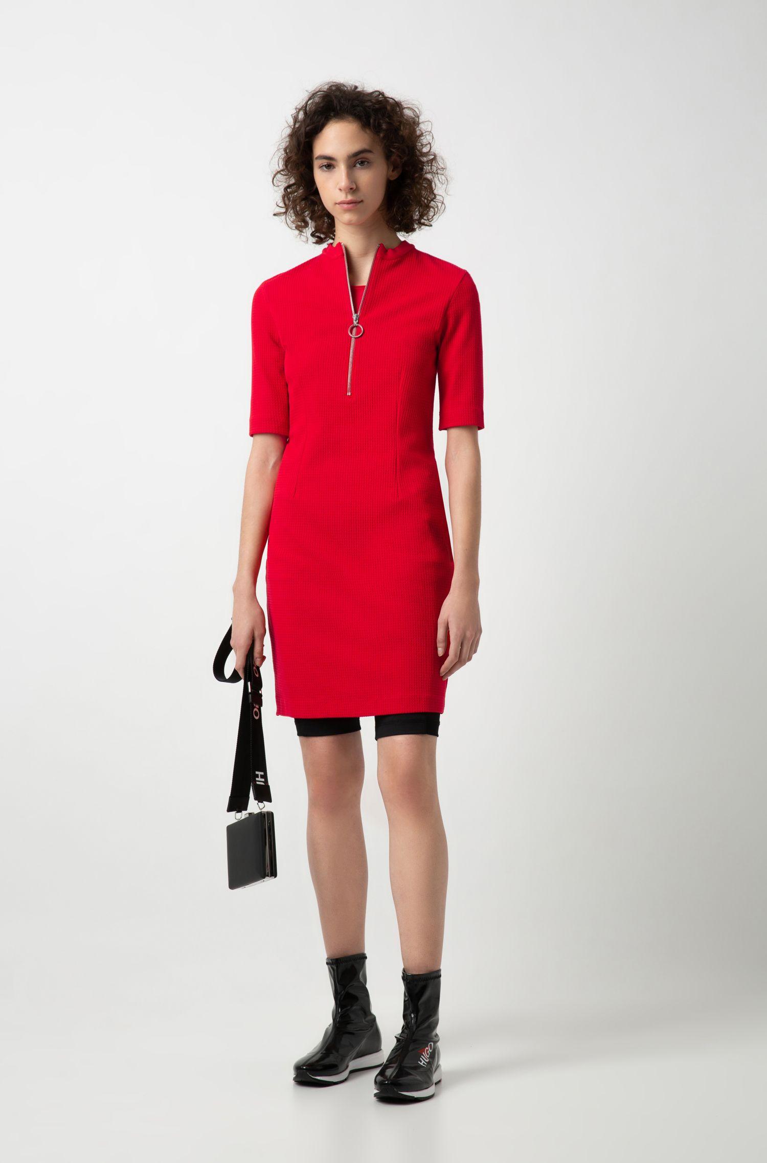 Kleid aus strukturiertem Stretch-Jersey mit Reißverschluss am Ausschnitt, Hellrosa