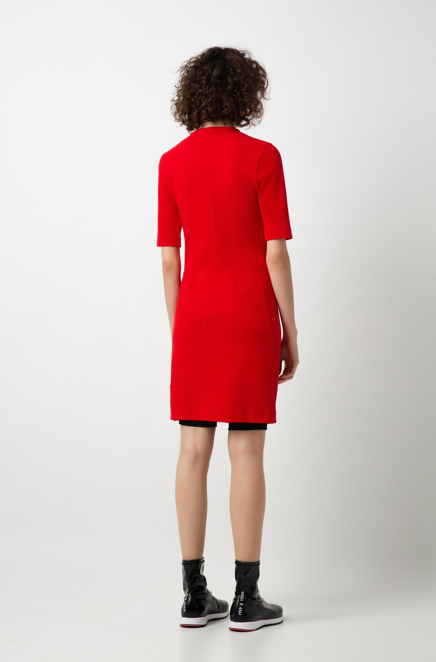 Zip-neck dress in structured stretch jersey, Open Pink