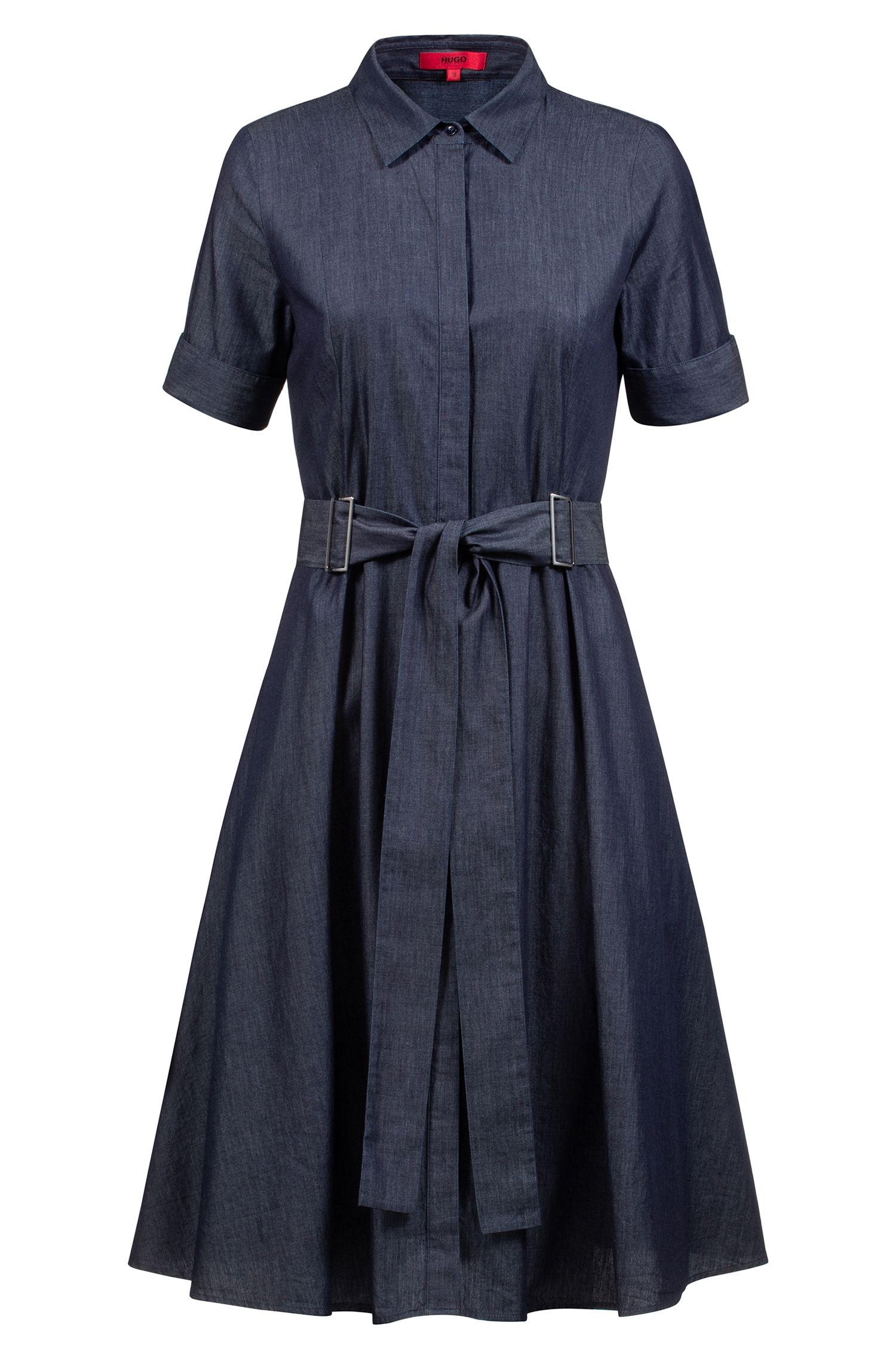 Slim-fit blouse dress in Italian denim with belt, Blue