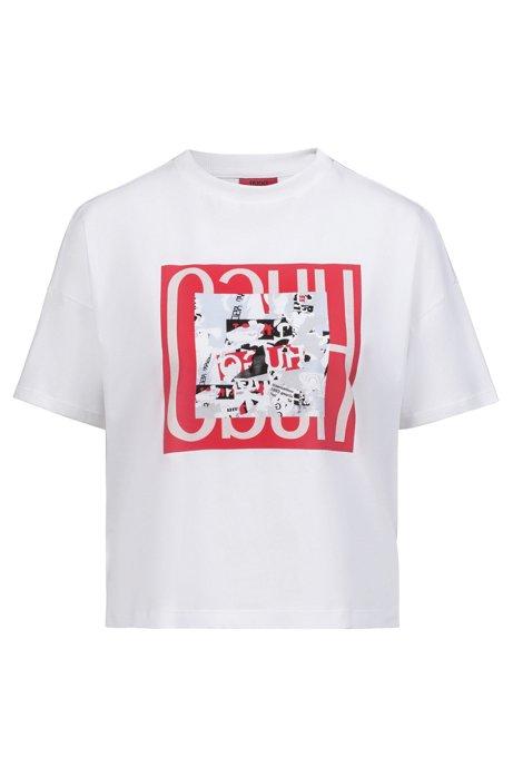 Camiseta relaxed fit en algodón con estampado llamativo, Blanco