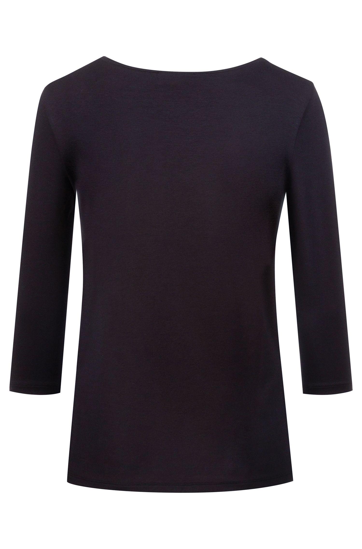 Slim-fit jersey top with logo-embellished keyhole neckline, Black