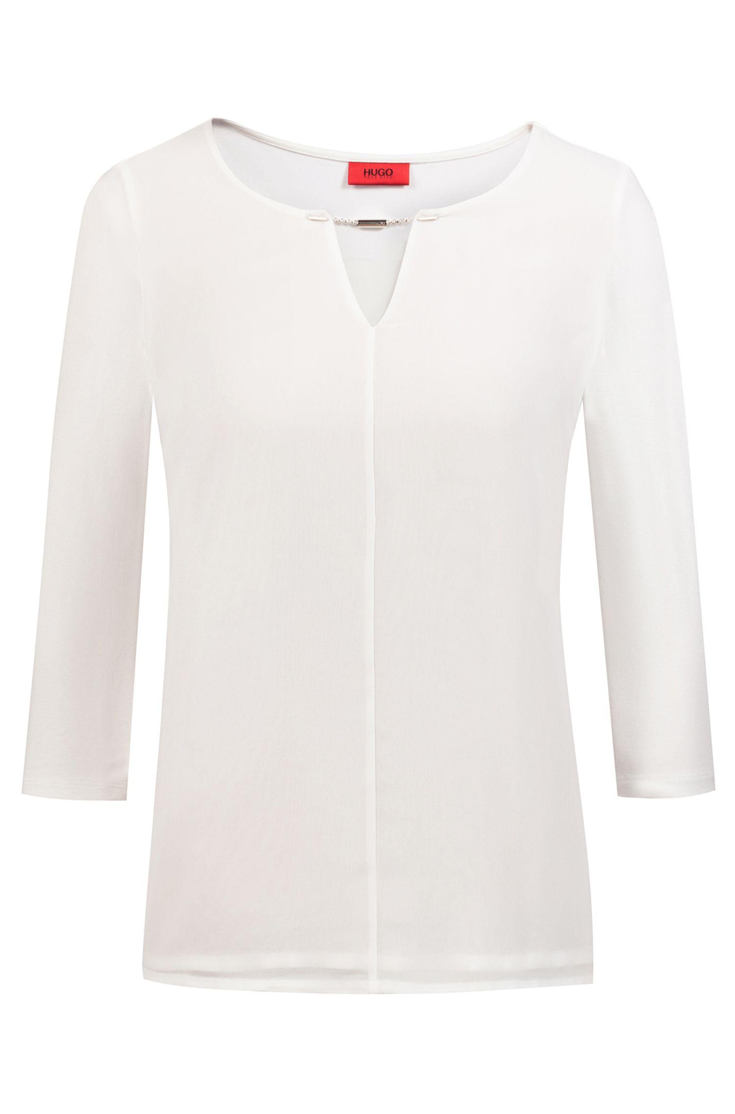Slim-fit jersey top with logo-embellished keyhole neckline, Natural