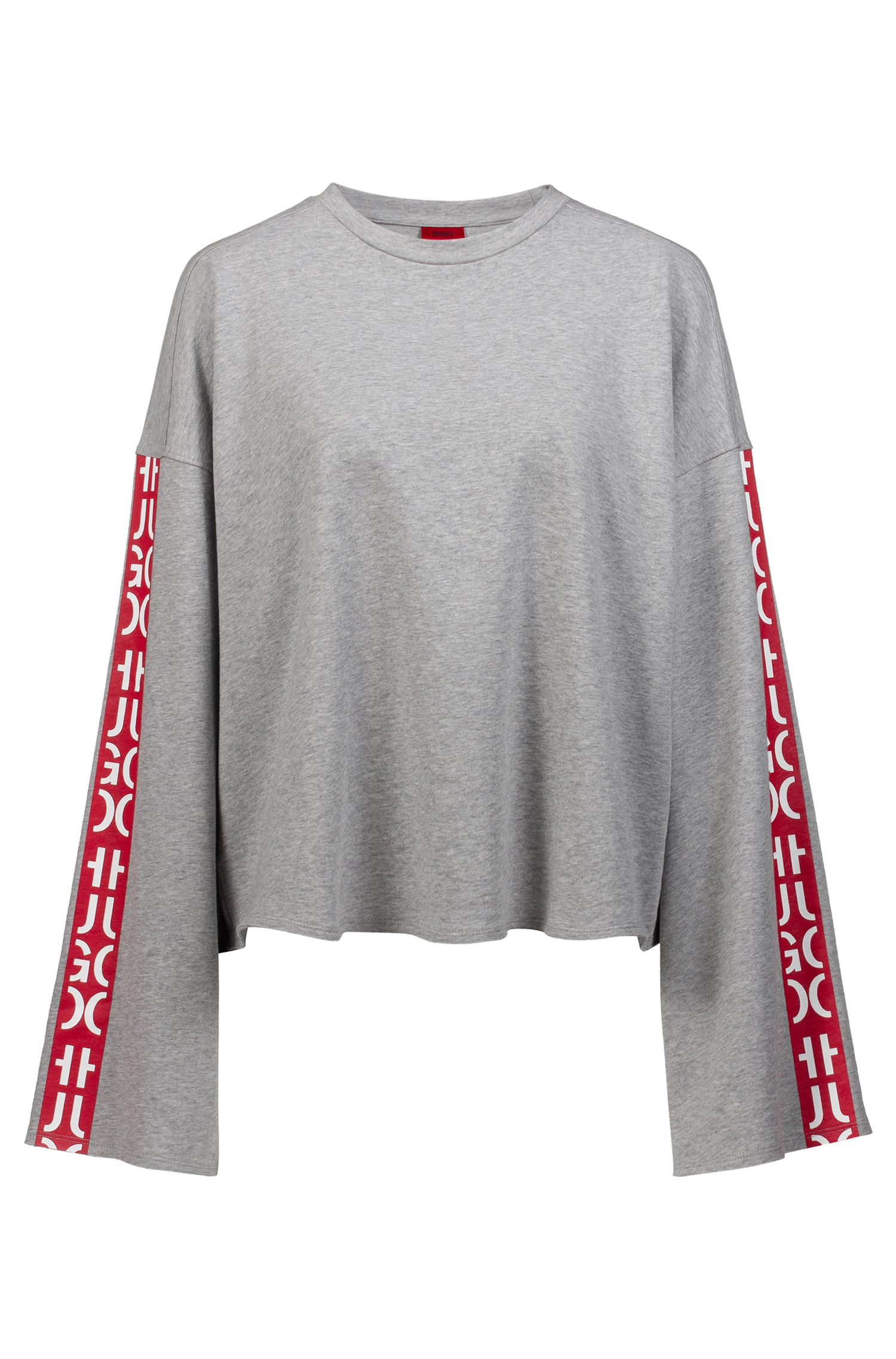 Relaxed-fit cropped sweatshirt with abstract-logo tape, Silver