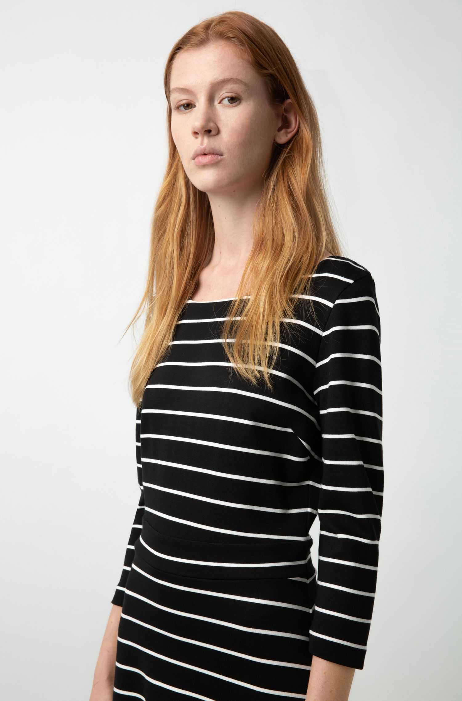 Long-sleeved dress in striped stretch jersey, Patterned