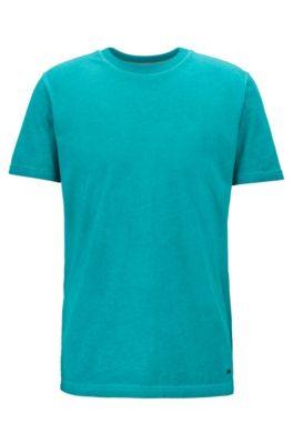 T-shirt met ronde hals van garment-dyed katoenen single jersey, Groen