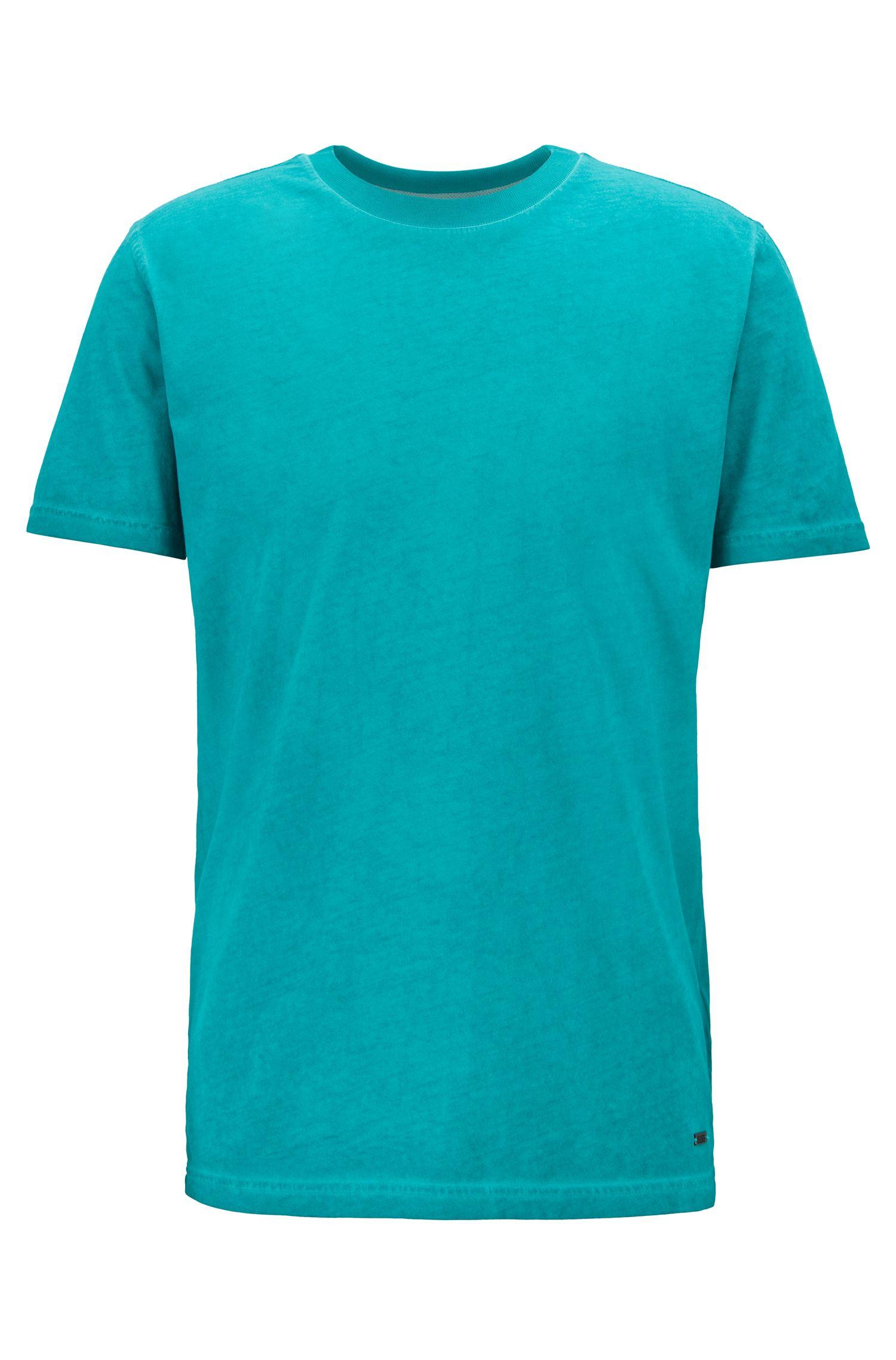 T-Shirt aus stückgefärbtem Single Jersey mit Rundhalsausschnitt, Grün
