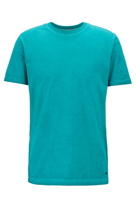 Crew-neck T-shirt in garment-dyed single-jersey cotton, Green