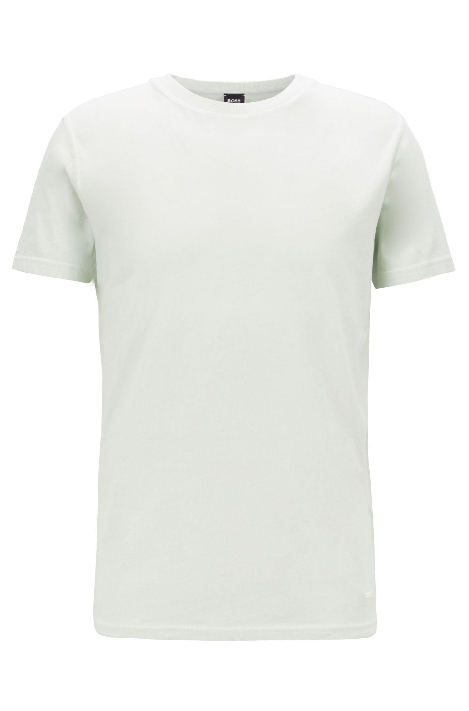 T-Shirt aus stückgefärbtem Single Jersey mit Rundhalsausschnitt, Hellgrün