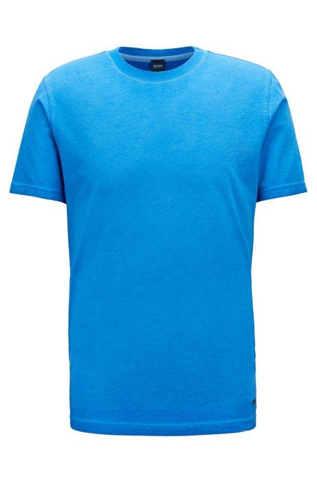 Camiseta de cuello redondo en punto sencillo de algodón y teñida en prenda, Azul