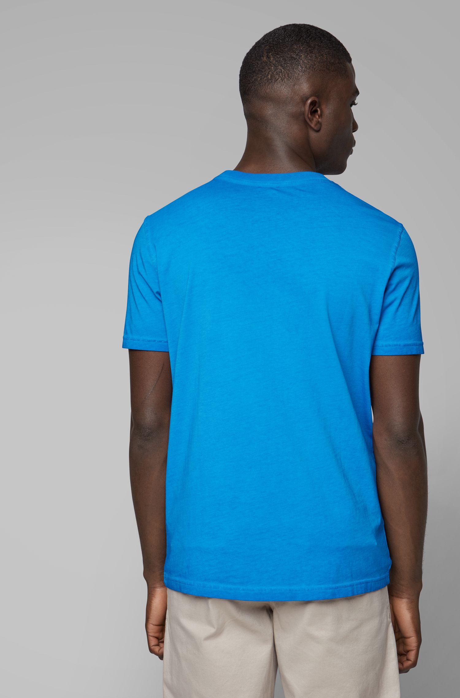 T-shirt a girocollo in jersey di cotone tinto in capo, Blu