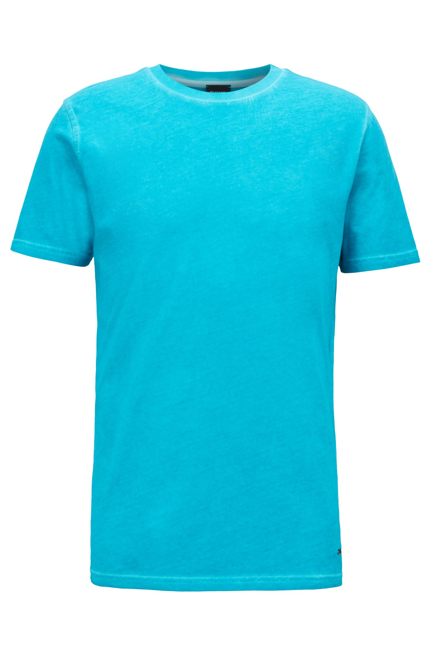 Crew-neck T-shirt in garment-dyed single-jersey cotton, Turquoise