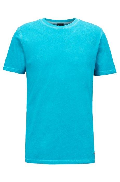 T-shirt à col rond en jersey simple de coton teint en pièce, Turquoise