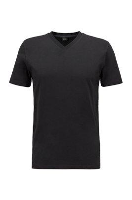 Regular-fit T-shirt in garment-dyed cotton jersey, Black