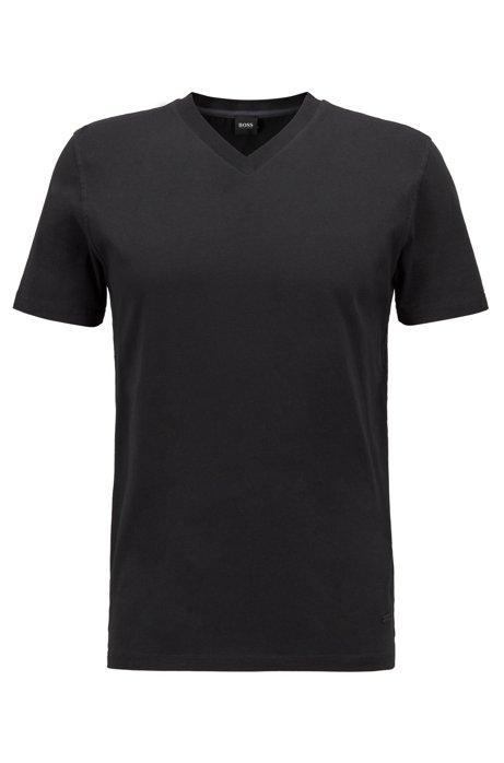 T-Shirt aus stückgefärbtem Baumwoll-Jersey, Schwarz