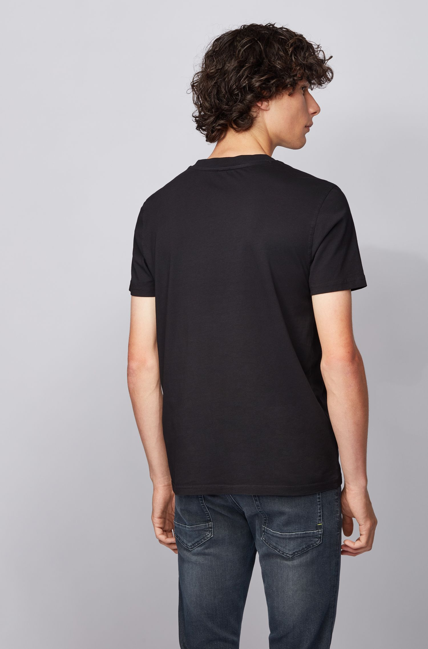 Regular-fit T-shirt in garment-dyed cotton jersey, Black