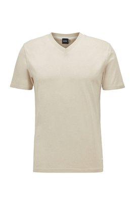 Regular-fit T-shirt in garment-dyed cotton jersey, Light Beige
