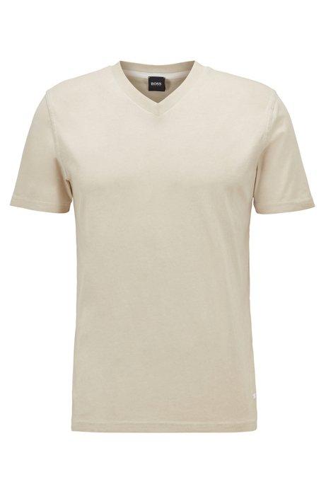 T-shirt regular fit in jersey di cotone tinto in capo, Beige chiaro
