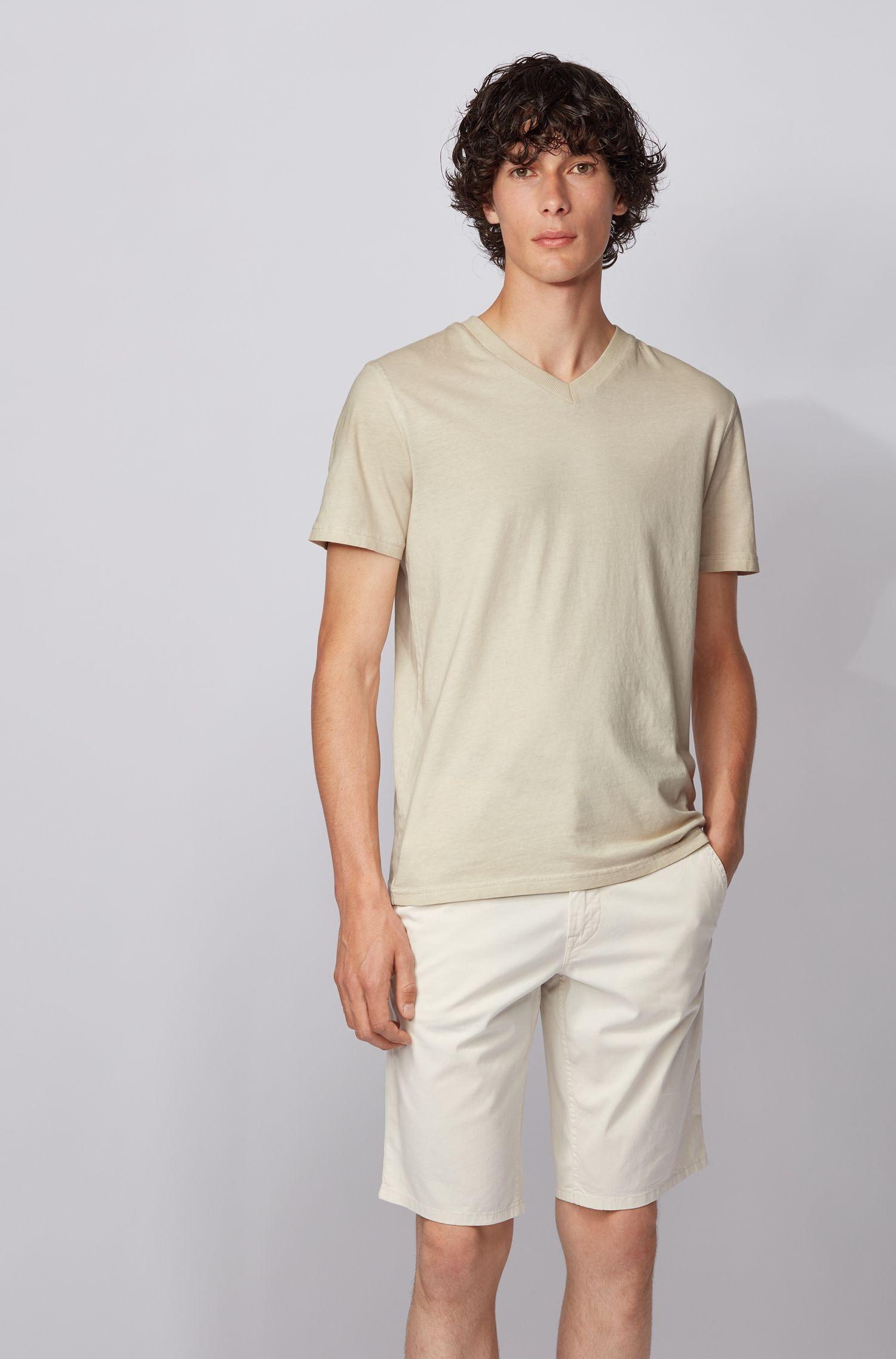 Camiseta regular fit en punto de algodón teñido en prenda, Beige claro