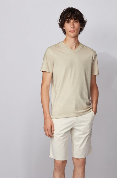 Regular-fit T-shirt in garment-dyed cotton jersey, Light Beige