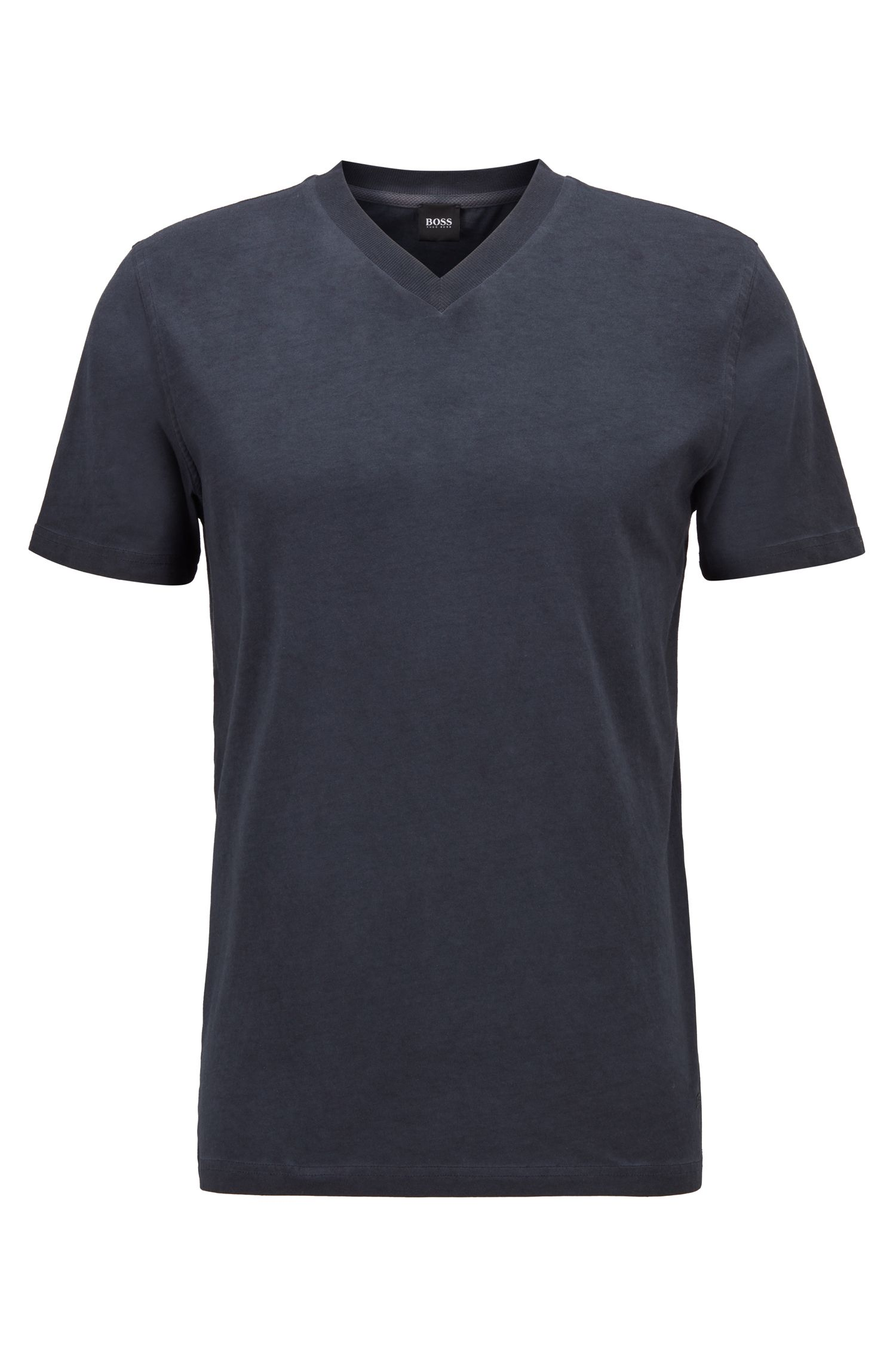 Regular-fit T-shirt in garment-dyed cotton jersey, Dark Blue
