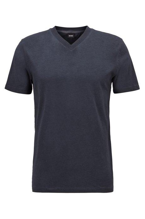 Camiseta regular fit en punto de algodón teñido en prenda, Azul oscuro