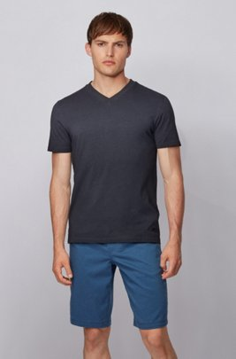 T-shirt Regular Fit en jersey de coton teint en pièce, Bleu foncé