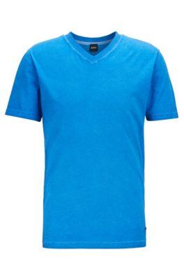 Regular-fit T-shirt van garment-dyed katoenjersey, Blauw