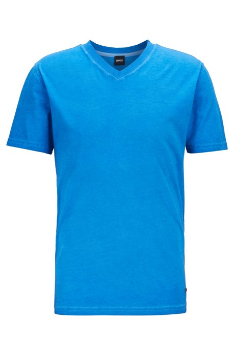 T-shirt regular fit in jersey di cotone tinto in capo, Blu