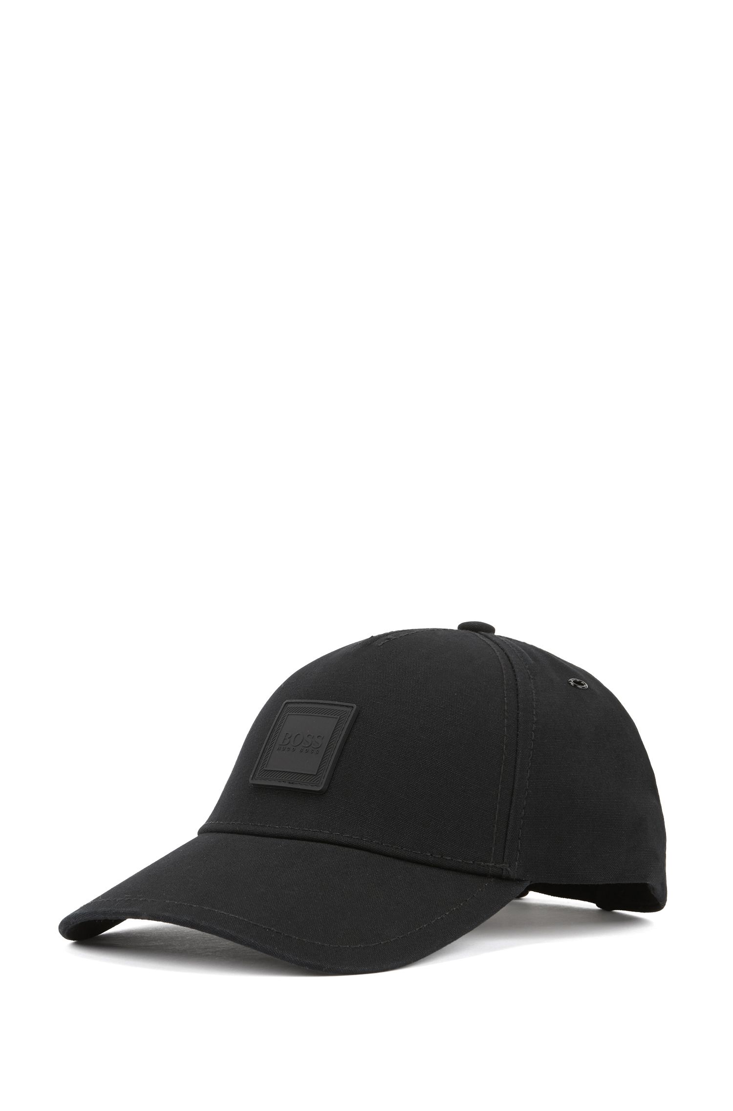 Cappellino regolabile in tela di cotone decorato con targhetta con logo in silicone, Nero
