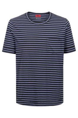 Camiseta a rayas en punto de mezcla de algodón, Azul oscuro