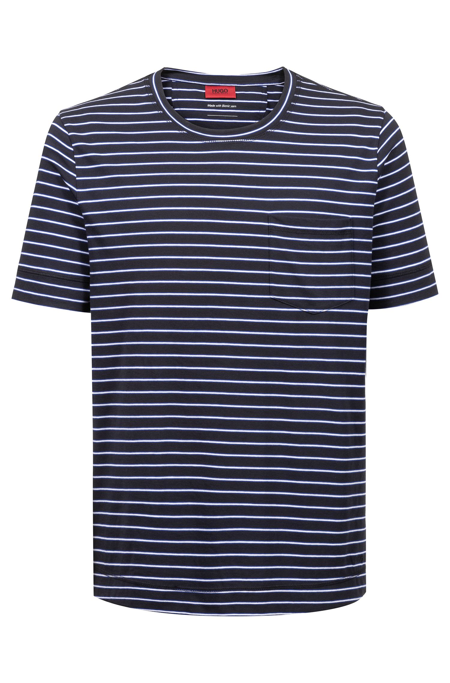 Striped T-shirt in cotton-blend jersey, Dark Blue
