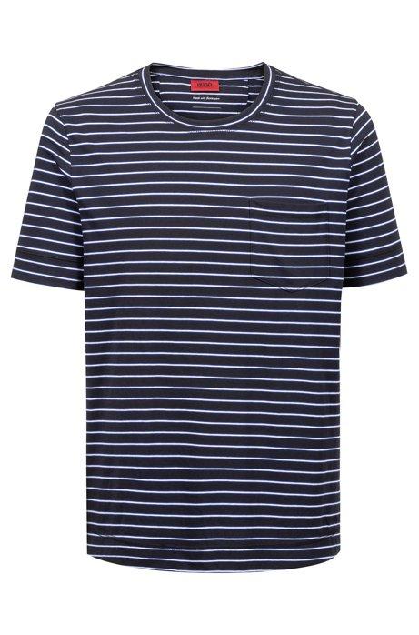 T-shirt a righe in jersey di misto cotone, Blu scuro